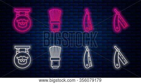 Set Line Shaving Brush, Straight Razor, Barbershop And Straight Razor. Glowing Neon Icon On Brick Wa