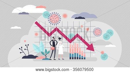 Economic Crisis Vector Illustration. Financial Stock Recession Flat Tiny Person Concept. Global Mark
