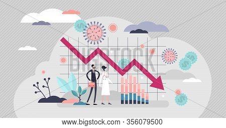 Economic Crisis Vector Illustration. Financial Stock Recession Flat Tiny Person Concept. Global Mark