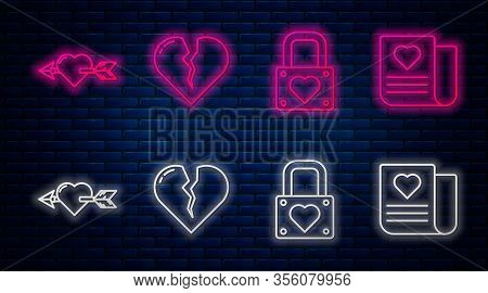 Set Line Broken Heart Or Divorce, Lock And Heart, Amour With Heart And Arrow And Envelope With Valen