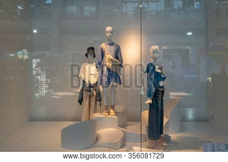 Zara Shop At Mega Bangna Thailand, Mar 9, 2020: Fashionable Brand Of Clothings And Accessories Windo