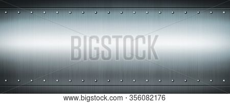 Steel Riveted Brushed Plate Background Texture. Blue Metal Banner Background.