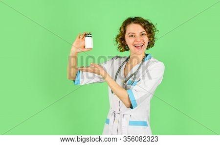 Vitamins For Happy Life. Take Vitamins. Doctor Prescribing Medicines. Instruction To Take Pills Corr