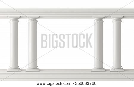 Antique Columns, Stone Pillars Frame Balustrade Isolated. Ancient Figured Elements Connected At Top