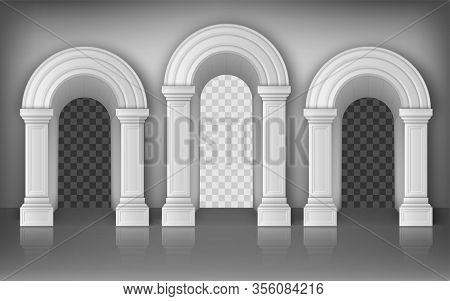 Arches With Columns In Wall Realistic Vector, Interior Gates With White Pillars In Palace Or Castle