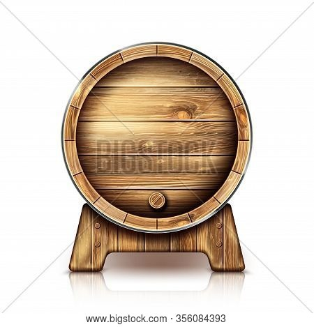 Wooden Barrel For Wine Or Beer. Cask From Oak Wood On Stand For Brewery Or Winery. Vector Realistic