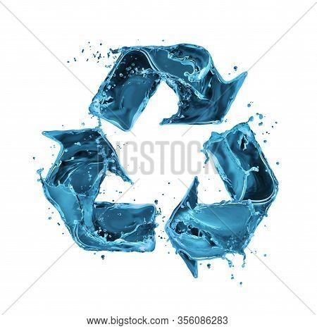 Splashes Of Ocean Water In The Shape Of A Recycling Sign. 3d Illustration