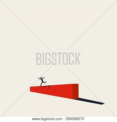 Overcoming Challenges And Difficult Times Vector Concept. Businessman Jumps Over Barrier. Symbol Of