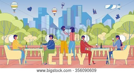City Lifestyle Recreation Word Concept Banner. Urban Inhabitants, Citizens Enjoying Relaxing Pastime
