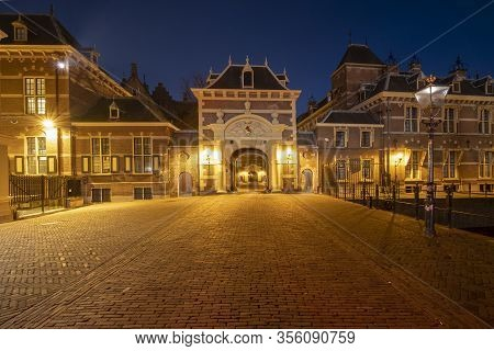 The Hague , Februari 17 2019: The Hague, The Netherlands Beautiful View Through The Arch To The Medi