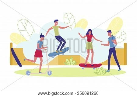 Fun Weekends In Skate Park For Teenagers, Cartoon. Young People Have Fun In Special Place For Riding