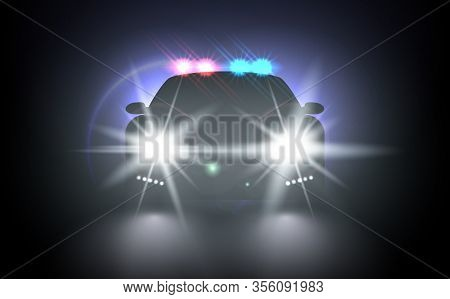 Police Car With Flashing Light Realistic Composition Night Urban Scenery Stylish Automobile Silhouet