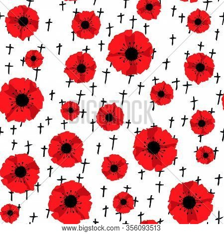 Anzac Day. Seamless Pattern Red Poppies And Black Crosses Isolated On White Background. Remembrance
