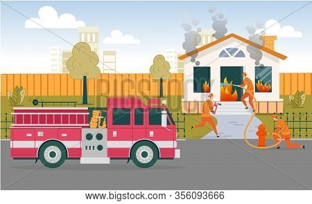 Team Firefighters Extinguish One-story House. Man In Protective Clothing And With Special Equipment