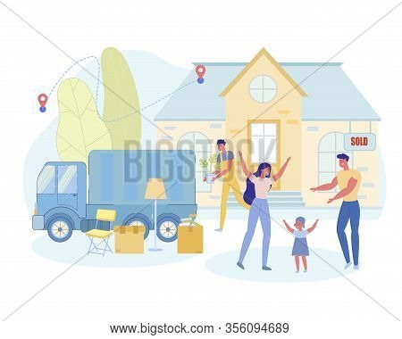 Mom And Daughter Rejoice At Selling Home, Moving. Family Standing Near Home, They Waiting For Employ