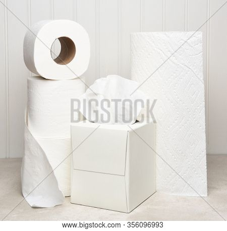 Rolls of Toilet Paper, a box of Facial Tissues and a roll of Paper Towels all items people are hoarding during the COVID-19 pandemic.