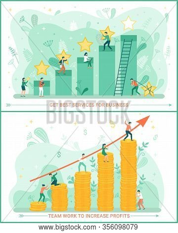 Best Service For Business Vector, People Working In Team. Infochart With Arrow Successful Work Of Wo