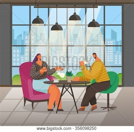 People On Meeting Drink Coffee And Talk In Cafe. Man And Woman Sit On Armchairs And Have Lunch. Coff