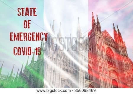 Concept of Italy state of emergency, national lockdown due to coronavirus crisis
