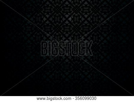 Seamless Pattern Background Black Gradient Vector With Floral Ornament