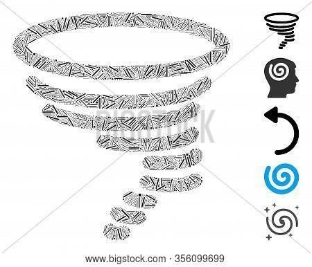 Dash Mosaic Based On Tornado Icon. Mosaic Vector Tornado Is Created With Randomized Dash Elements. B