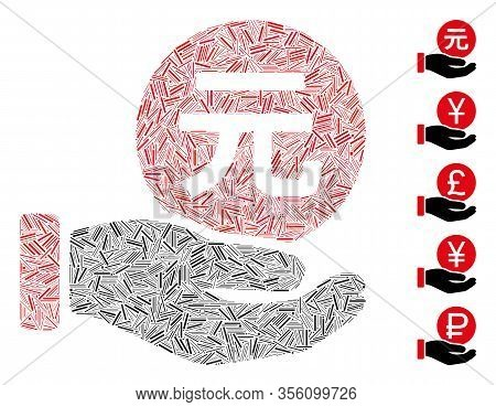 Hatch Mosaic Based On Renminbi Yuan Coin Payment Icon. Mosaic Vector Renminbi Yuan Coin Payment Is D