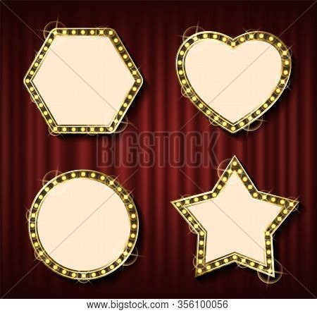 Theater Curtain Backdrop And Blank Frame With Lamps. Round Framework, Concert Or Show Banner Templat