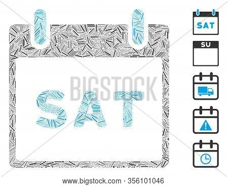 Line Mosaic Based On Saturday Calendar Page Icon. Mosaic Vector Saturday Calendar Page Is Formed Wit