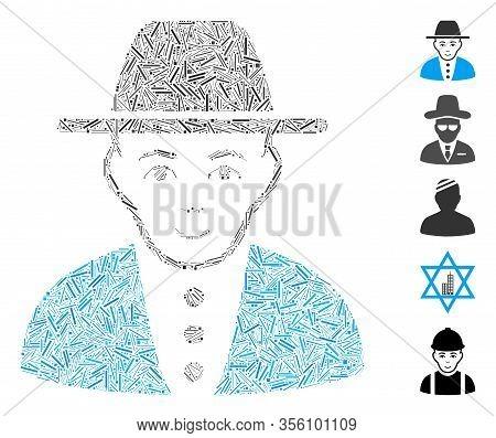 Line Mosaic Based On Jew Icon. Mosaic Vector Jew Is Designed With Random Line Elements. Bonus Icons