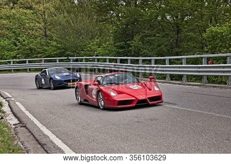 Sports Car Ferrari Enzo In Tribute To Mille Miglia, The Historic Italian Race, On May 18, 2013 In Pa