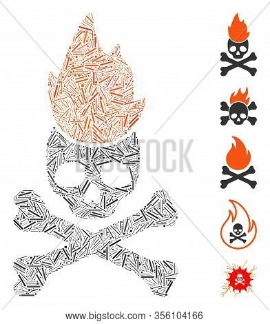 Line Mosaic Based On Hell Fire Icon. Mosaic Vector Hell Fire Is Composed With Random Line Items. Bon