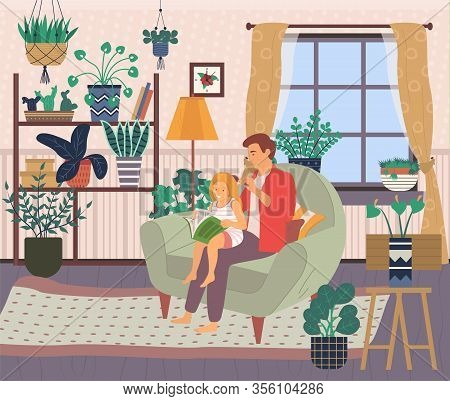 Fathers Care Vector, Little Girl Learn To Read Book Sitting On Her Dads Lap, Caring Daddy Combing Da
