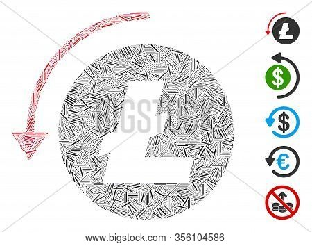 Hatch Mosaic Based On Refund Litecoin Icon. Mosaic Vector Refund Litecoin Is Designed With Scattered