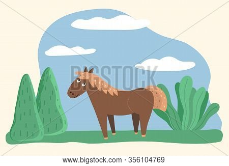 Horse Stand On Grass On Meadow. Domestic Animal On Farm, Character With Blond Mane And Brown Coat. V