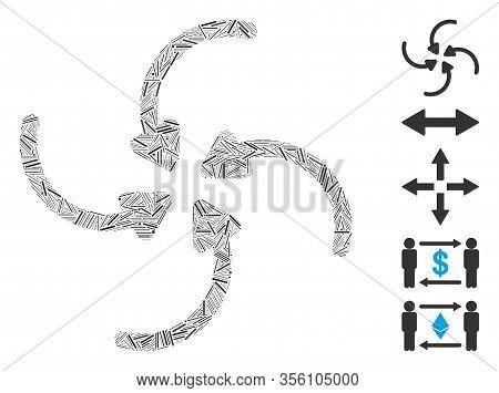 Dash Mosaic Based On Vortex Collide Arrows Icon. Mosaic Vector Vortex Collide Arrows Is Designed Wit