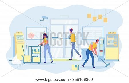 Routine Customized Cleaning Services In Bank Office. Professional Team Working. Woman Pushing Cleani