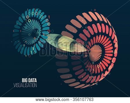 Big Data Visualization. Abstract Background With Lines Array And Binary Code. Hemispherical Connecti