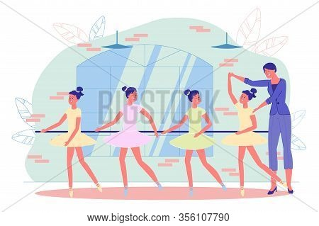 Teenager Girls Training With Teacher In Ballet Dance Studio. Instructor Showing Basic Arms And Legs