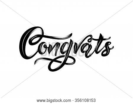Congrats Modern Calligraphy Hand Lettering. Black Color. Isolated. Volume Effect. Brush Painted Lett