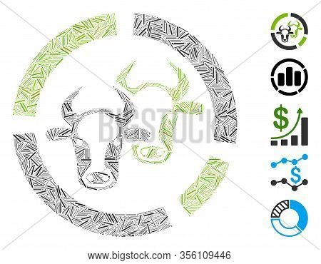 Hatch Mosaic Based On Livestock Diagram Icon. Mosaic Vector Livestock Diagram Is Designed With Rando