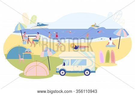Variety Fun For Families In Summer On Water, Slide. There Are Tents And Mobile Furnishings On Coast.