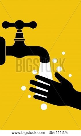Landing Page To Wash Hands Black Silhouette Icon. Hands Under The Water Tap. Vector Illustration Fla