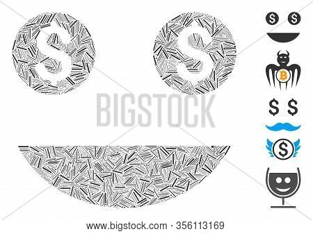 Line Mosaic Based On Money Smiley Icon. Mosaic Vector Money Smiley Is Designed With Randomized Line