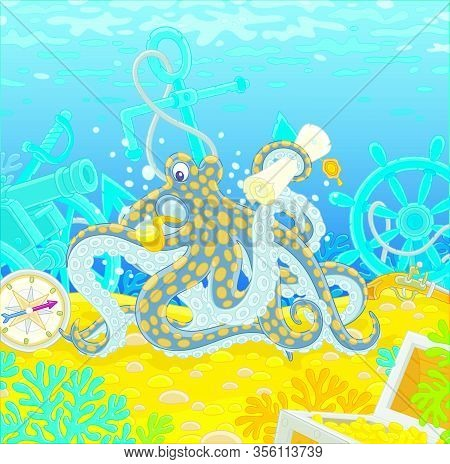 Sea Pirate Octopus With A Map Of A Treasure Island And A Big Wooden Chest Of Gold From An Old Sunken