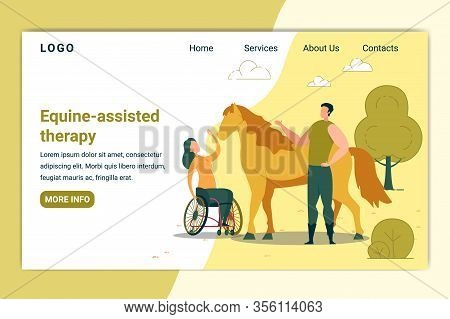 Equine Assisted Therapy Banner. Woman In Wheelchair Petting Horse. Animal Curing Handicapped Person.