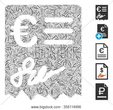 Line Mosaic Based On Euro Invoice Icon. Mosaic Vector Euro Invoice Is Created With Randomized Line I