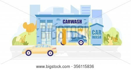 Van Having Carwash Service Flat Cartoon Vector Illustration. Complex Shower With Wax And Soap. Owner