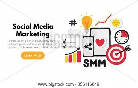 Vector Background With Smm Elements. Social Media Marketing. Reach And Promotion Among Target Audien