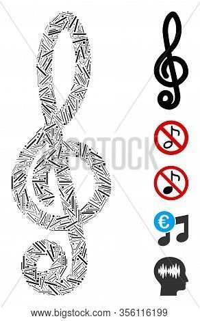 Line Mosaic Based On Musical Notation Icon. Mosaic Vector Musical Notation Is Created With Scattered