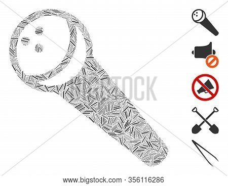 Line Mosaic Based On Recording Microphone Icon. Mosaic Vector Recording Microphone Is Designed With